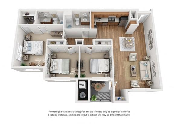 Floor Plan  Plan 15 3 Bedroom 2 Bathroom 3D Floor Plan at Hancock Terrace Apartments, Santa Maria