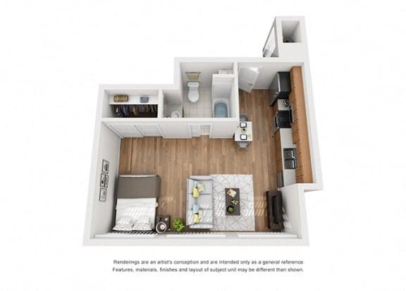 Floor Plan  Plan 1 1 Bedroom 1 Bathroom 3D Floor Plan Layout at Hancock Terrace Apartments, Santa Maria
