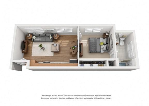 Floor Plan  Plan 2 1 Bedroom 1 Bathroom 3D Floor Plan Layout at Hancock Terrace Apartments, California