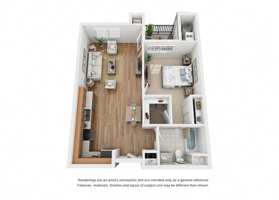 Floor Plan  Plan 3 1 Bedroom 1 Bathroom 3D Floor Plan Layout at Hancock Terrace Apartments, California, 93454