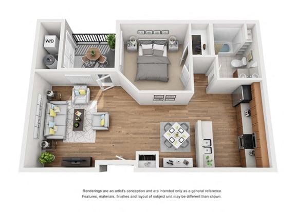Floor Plan  Plan 4 1 Bedroom 1 Bathroom 3D Floor Plan Layout at Hancock Terrace Apartments, Santa Maria, CA, 93454