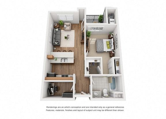 Floor Plan  Plan 5 1 Bedroom 1 Bathroom 3D Floor Plan Layout at Hancock Terrace Apartments, Santa Maria, CA