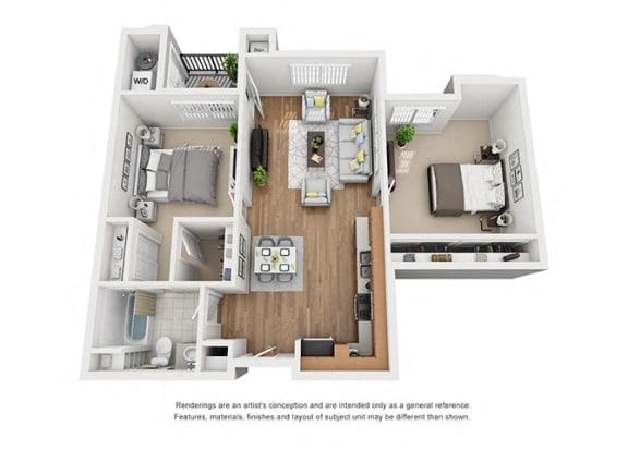 Floor Plan  Plan 6 2 Bedroom 1 Bathroom 3D Floor Plan Layout at Hancock Terrace Apartments, Santa Maria, 93454