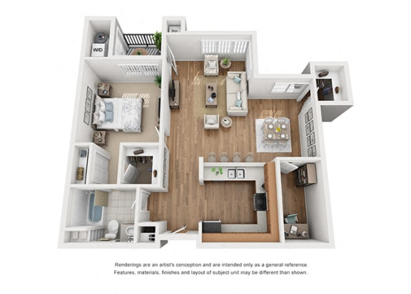 Floor Plan  Plan 7 1 Bedroom 1 Bathroom 3D Floor Plan at Hancock Terrace Apartments, Santa Maria, California