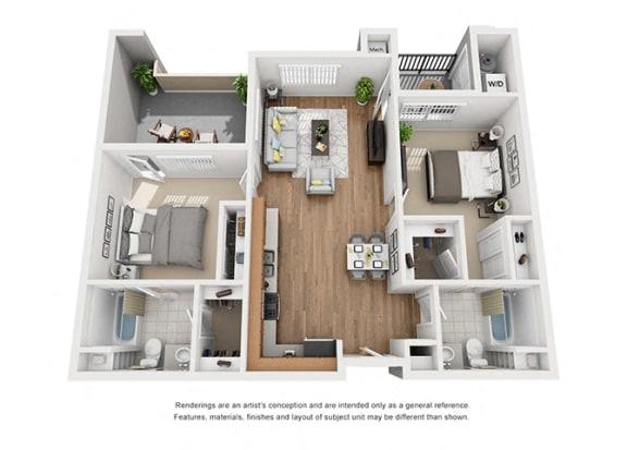 Floor Plan  Plan 8 2 Bedroom 2 Bathroom 3D Floor Plan at Hancock Terrace Apartments, Santa Maria