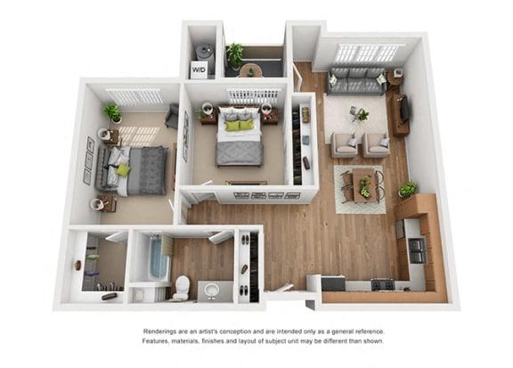 Floor Plan  Plan 9 2 Bedroom 1 Bathroom 3D Floor Plan at Hancock Terrace Apartments, California