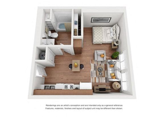 Floor Plan  Studio Plan 10 floorplan at Villa Del Sol, California, 93458