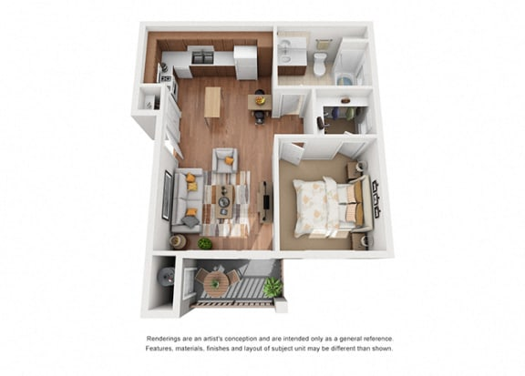 Floor Plan  1 bed 1 bath floorplan 2, at Villa Del Sol, California, 93458