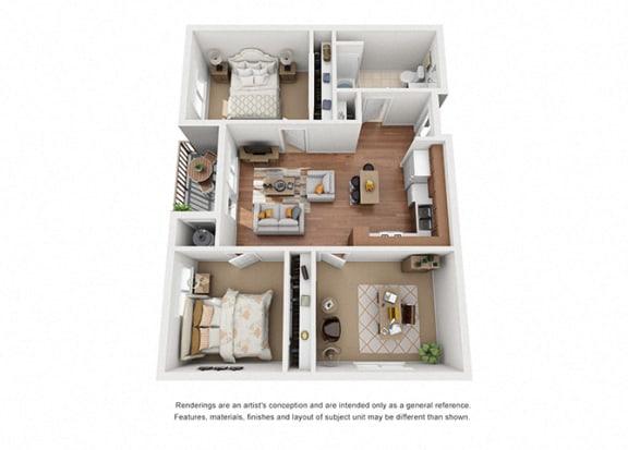 Floor Plan  2 bed 1 Plan 3 bath floorplan at Villa Del Sol, Santa Maria, CA 93458