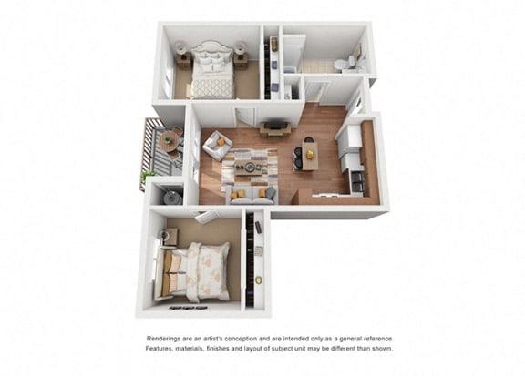 Floor Plan  2 bed 1 bath Plan 4 floorplan, at Villa Del Sol, Santa Maria, CA