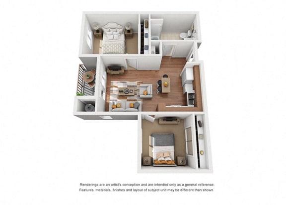 Floor Plan  2 bed 1 bath Plan 5 floorplan at Villa Del Sol, Santa Maria, 93458