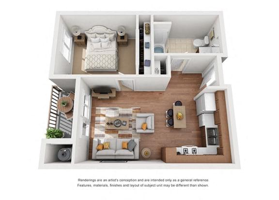 Floor Plan  1 bed 1 bath Plan 6 floorplan at Villa Del Sol, Santa Maria California