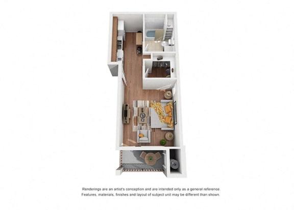 Floor Plan  Studio Plan 8 floorplan at Villa Del Sol, California