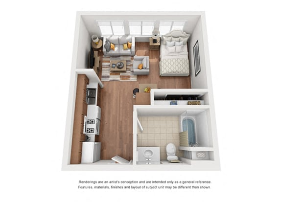 Floor Plan  Studio Plan 9 Floorplan 3D at Villa Del Sol, Santa Maria, CA