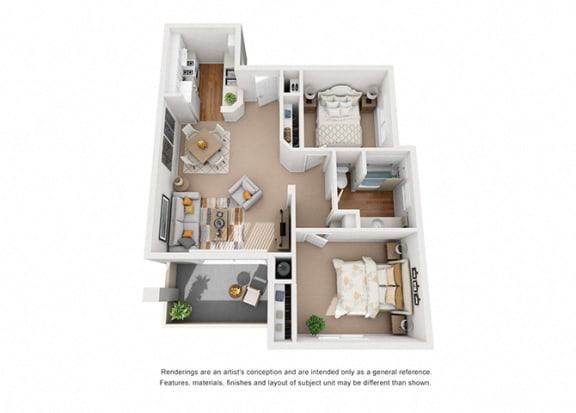 Floor Plan  Iris 2 Bedroom 1 Bathroom 3D Floor Plan Layout at Cypress Meadows Senior Apartments, Ventura, CA, 93003