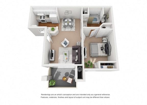 Floor Plan  Lily 1 Bedroom 1 Bathroom 3D Floor Plan Layout at Cypress Meadows Senior Apartments, Ventura, 93003