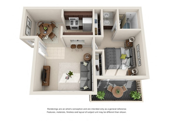Floor Plan  1 bed 1 bath floorplan, at  Oceanwood Apartments, California