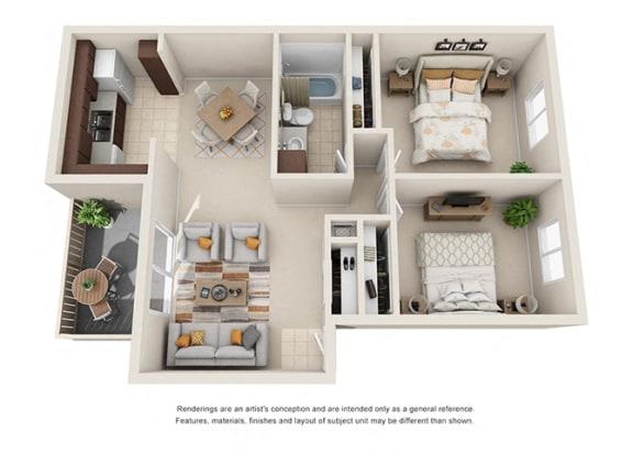 Floor Plan  2 bed 1 bath floorplan, at  Oceanwood Apartments, California