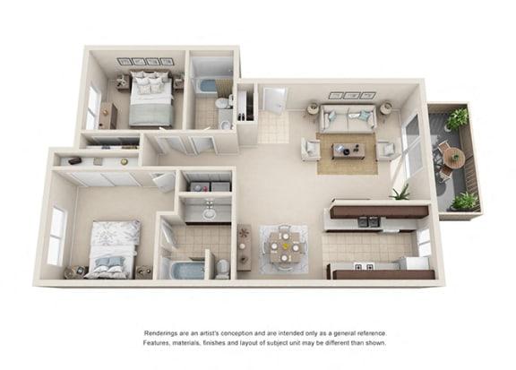 Floor Plan  2 bed 2 bath floorplan, at  Oceanwood Apartments, California, 93436