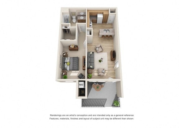 Floor Plan  1 bed 1 bath  Floorplan A 3D, at Ralston Courtyard Apartments, California