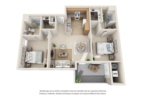 Floor Plan  2 bed 2 bath Floorplan E 3D, at Ralston Courtyard Apartments, Ventura, 93003