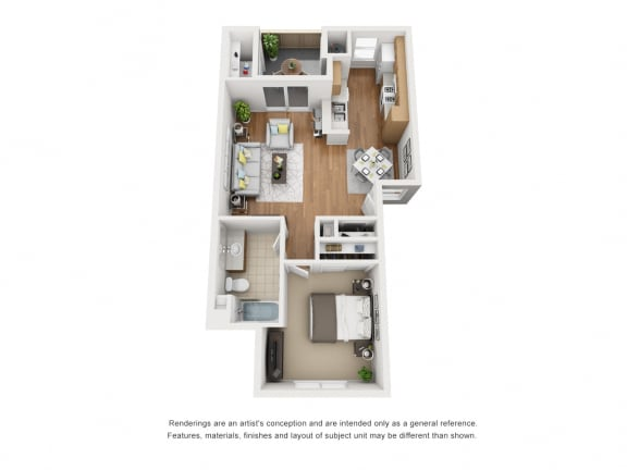 Floor Plan  One Bed One Bath 678 3D Floor Plan at Siena Apartments, Santa Maria, CA