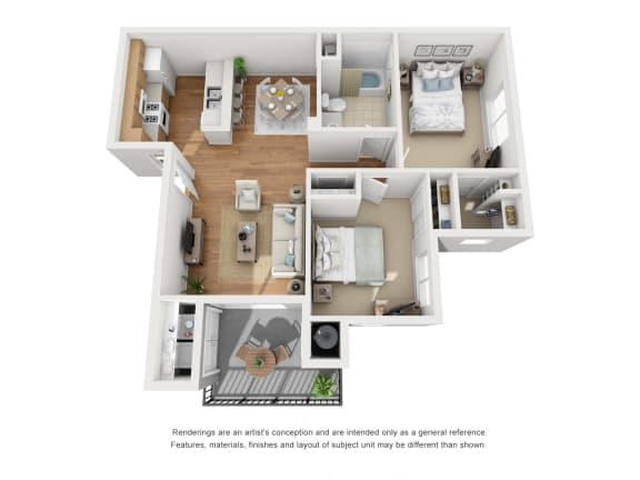 Floor Plan  Two Bed One Bath 3D Floor Plan at Siena Apartments, Santa Maria