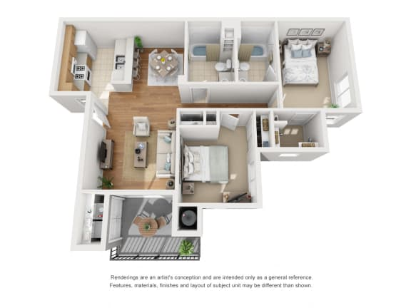 Floor Plan  Two Bed Two Bath 3D Floor Plan at Siena Apartments, California
