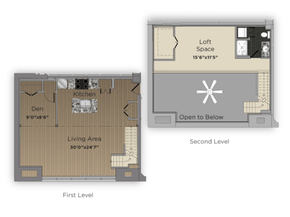 Floor Plan  The Librarian 1 Bedroom 1 Bathroom Floor Plan at 101 Ellwood, Baltimore, MD, 21224