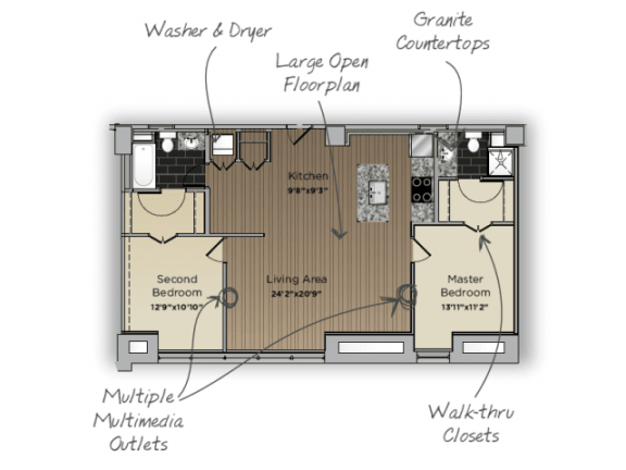 Floor Plan  2 Bedroom 2 Bathroom Principal Floor Plan at 101 Ellwood, Baltimore, Maryland