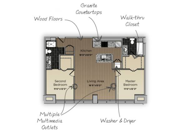 Floor Plan  2 Bed 2 Bath Vice Principal Floor Plan at 101 Ellwood, Baltimore, 21224