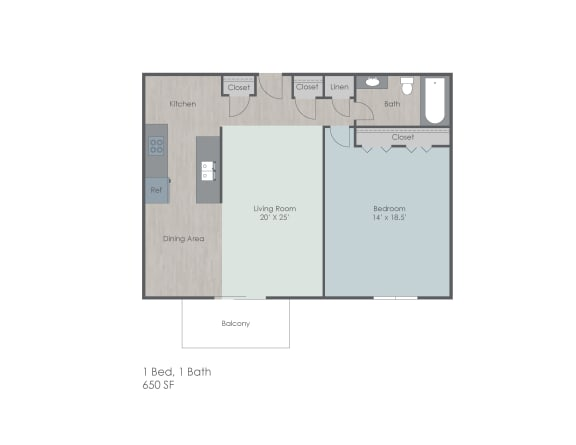 Floor Plan  One bedroom one bath apartment floor plan layout, opens a dialog.