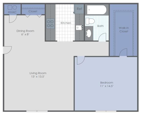 Floor Plan  One Bed Garden