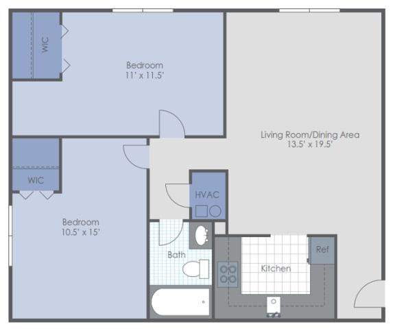 Floor Plan  Two Bed Garden