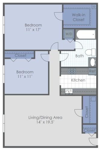 Floor Plan  Two Bed Garden Deluxe