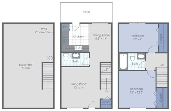 Floor Plan  Two Bed 1.5Bath FIN BAS