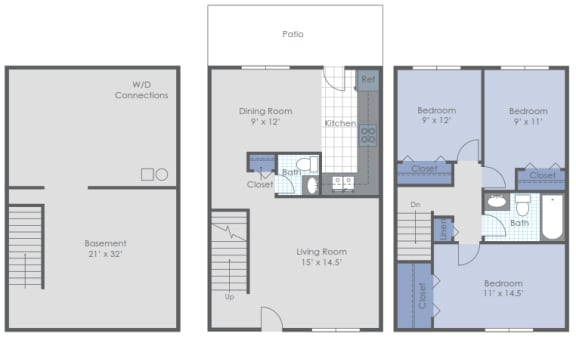 Floor Plan  Three Bed with Basement