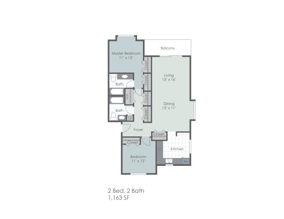 Floor Plan  Two bedroom, two bathroom 1163 sq foot two dimensional floor plan., opens a dialog.
