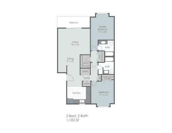 Floor Plan  Two bedroom, two bathroom 1102 sq foot two dimensional floor plan.