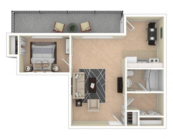 Floor Plan  2112 New Hampshire Ave Jr 1 Bed 564 sq ft floor plan
