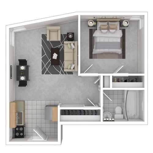 Floor Plan  Capital Plaza Apartments One Bedroom 540 Floor Plan