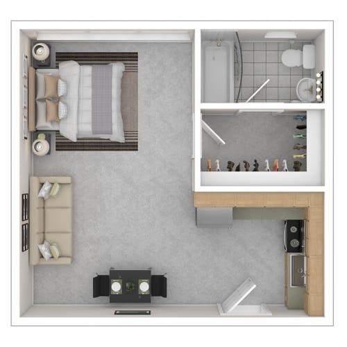 Floor Plan  Capital Plaza Apartments Studio ST1 425 Floor Plan
