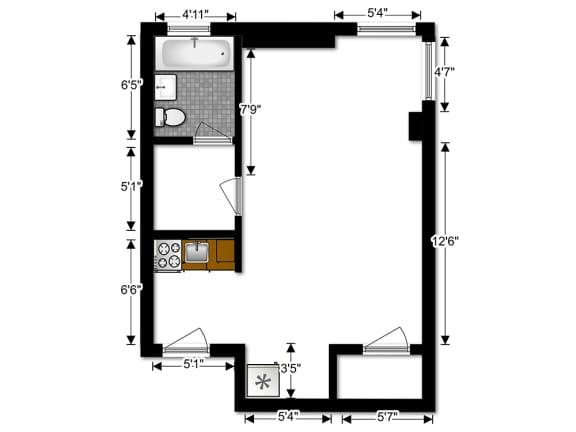 Floor Plan  Capital Plaza Apartments Studio ST 2 Floor Plan