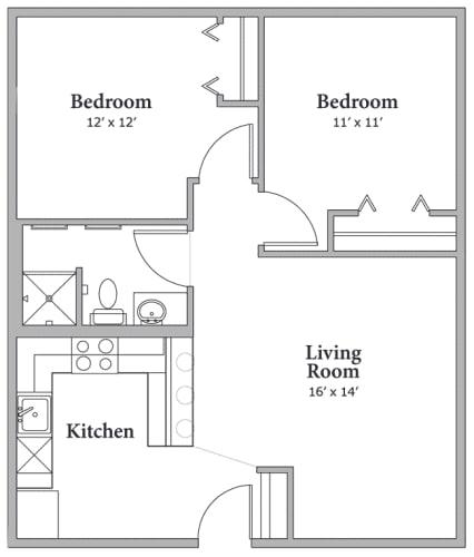 Floor Plan  Two Bedroom - Option A