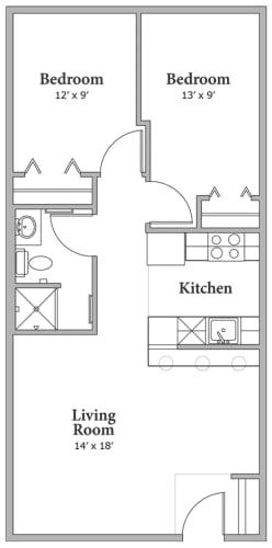 Floor Plan  Two Bedroom - Option B