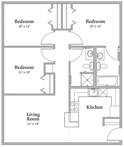Floor Plan  Three Bedroom - Option A