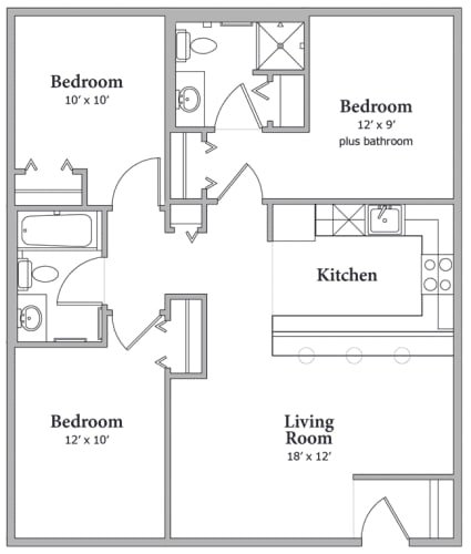 Floor Plan  Three Bedroom - Option B