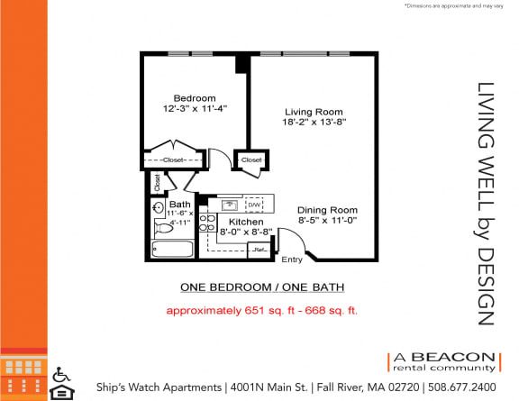 Floor Plan  One bedroom apartment in Fall River, MA