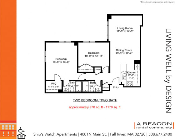 Floor Plan  Two bedroom apartment in Fall River, MA