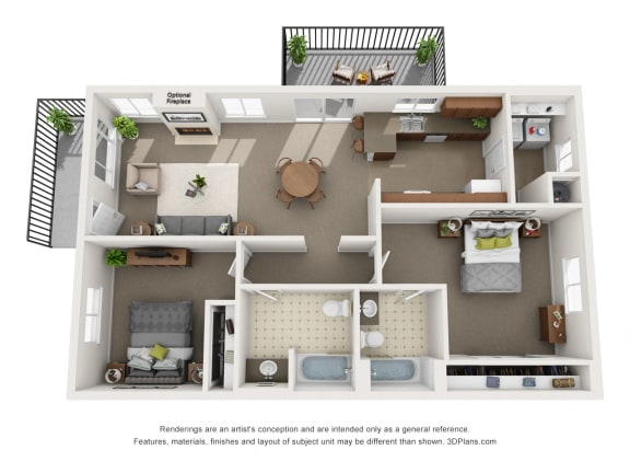 Floor Plan  College Park Heritage Floorplan with Fireplace